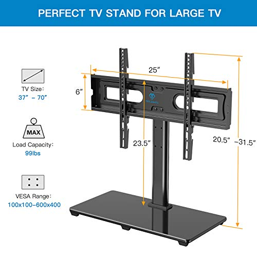 PERLESMITH Universal TV Stand Table Top TV Base for 37-70 inch LCD LED OLED 4K Flat Screen TVs-Height Adjustable TV Mount Stand with Tempered Glass Base, VESA 600x400mm, Holds up to 99lbs PSTVS11