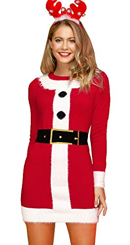 Christmas Women Printed Long Sleeve Ugly Sweater Dress Party Cable Knit Santa Claus Costume M