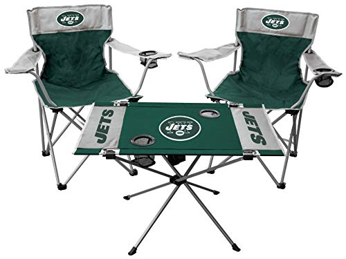 Rawlings NFL 3-Piece Tailgate Kit, 2 Gameday Elite Chairs and 1 Endzone Tailgate Table, New York Jets
