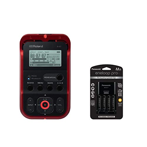 Roland R-07 Portable High-Resolution Audio Recorder - RED - With Panasonic Charger with 4 Pro Eneloop AA Size Batteries