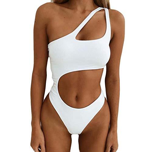NNAA Damen Einteiliger Badeanzug Push up String Tanga Bikini Schulterfrei Schwimmanzug Rückenfrei Monokini