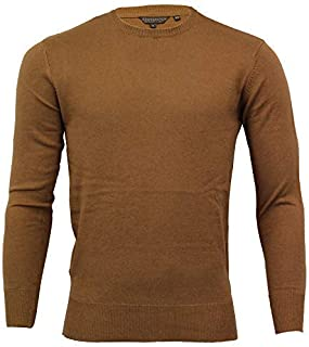 Crosshatch Mens Cotton Cashmere Jumper Knitted Sweater Pullover Top Patches New