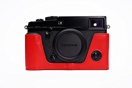 FUJIFILM 富士フイルム X-PRO2 用本革カメラケース&バッテリーケース付ストラップ 各種カラー (カメラケース&バッテリーケース付ストラップ, レッド)