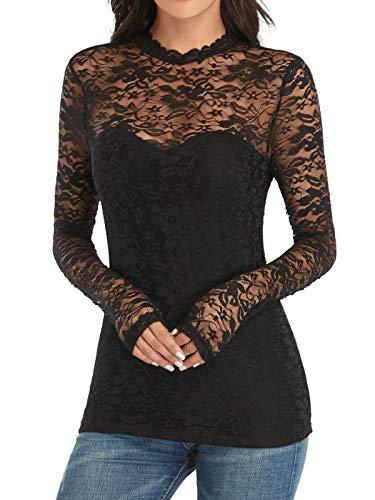 Dilgul Damska bluzka z długim rękawem z koronką seksowna górna część