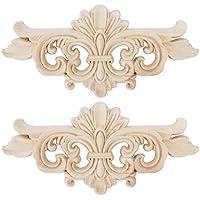 AUNMAS 2 Unids Flor Tallada Onlay Apliques Muebles Decoración Talla de Madera Floral Tallada Esquina Accesorios Decorativos para El Hogar Puerta de Gabinete Ventana Decoración Craft(1#)
