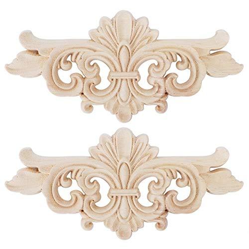 2 Unids Flor Tallada Onlay Apliques Muebles Decoración Talla de Madera Floral Tallada Esquina Accesorios Decorativos para El Hogar Puerta de Gabinete Ventana Decoración Craft(1 #)