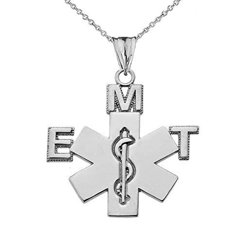 Little Treasures Colgante de Emergencia con diseño de Técnico Médico (EMT) en Plata de Ley (Viene con Cadena de 45,7 cm)