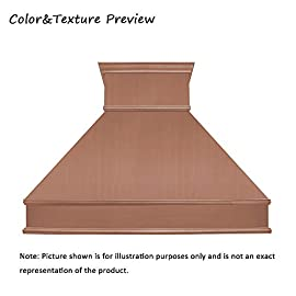 """SINDA Natural Beautiful Copper Kitchen Hood, Handcrafted by Skilled Artisan, Comes with High Air Flow Motor Fan, 48""""Wx42""""H Island Mount, Smooth-Natural Copper, H10B-SNI4842 4 SIZE: Island Mount 48""""Wx42""""H.The width of an island mount copper range hood should be 3-6 inches wider than the cooktop. And the height range between your cooktop and the copper range hood should be from 30 to 36 inches. We suggest a height of 36 inches for an island mount. Custom sizes available upon request by email. Material: 16 gauge pure virgin copper. PATINA&TEXTURE: Smooth; Natural Copper. Want to touch a real finish? You may click on this link: https://www.amazon.com/dp/B07Q3FS4NQ. BASIC EQUIPMENT: Stainless Steel 304 Vent with Liner and Internal Motor, Reusable Baffle Filter, Grease Channel, Yellow LED lights(3W 12V) and 4-Speed Control; Powerful Airflow Fan: (30""""/36""""W: single motor, 610 CFM, 6"""" round duct; 42""""/48""""W: dual motors, 960CFM, 8"""" round duct); Ductless and remote blowers with In-line liner options available upon request by email;"""