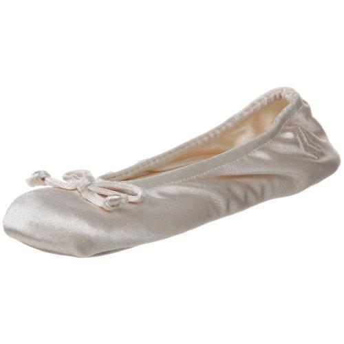 Isotoner Damen Satin Ballerina Slipper mit Schleife Wildledersohle, Elfenbein - Cremefarbene Schleife. - Größe: Large