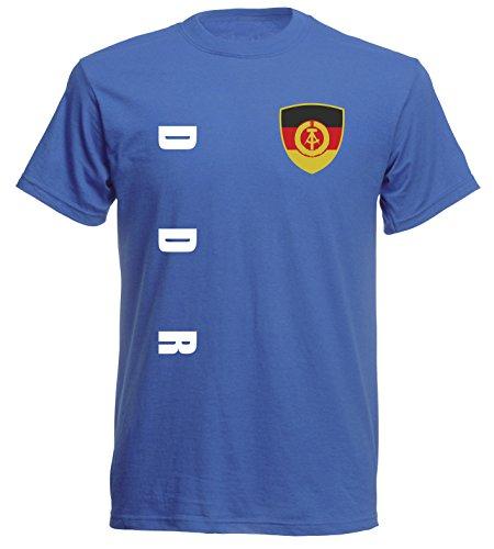 aprom DDR Deutschland Sp/A royal - T-Shirt Fußball Trikot (XL)