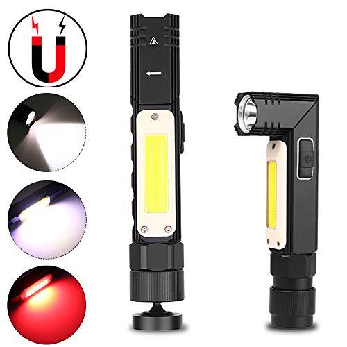 Wpond XPG+COB Taschenlampe, 90 Grad verstellbar, mit USB-Ladefunktion, Rot/Weiß 3189b Small Section