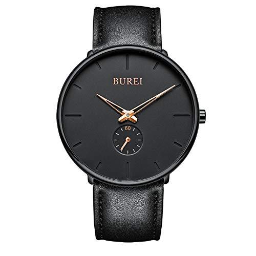 BUREI Unisex-Armbanduhr ultraflaches schwarzes großes dial minimalistischer stilvoller Analog Quarz mit schwarzem Lederband