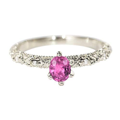 Socoz Mujer Unisex oro blanco 18 quilates (750) redonda Pink Sapphire