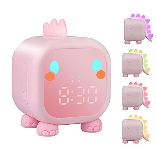ZKIAH Despertador infantil de dinosaurio, despertador digital para niños para niñas y jóvenes, reloj digital con luz nocturna LED, color rosa