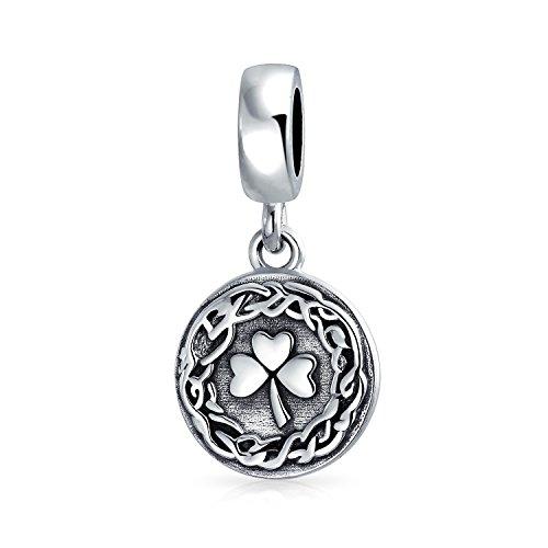 Viel Glück Irische Kleeblatt Baumeln Scheibe Keltische Knoten Blatt Klee Perle Charme Für Frauen Für Teen Oxidiert 925 Sterling Silber