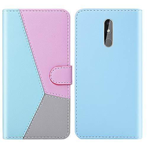 ZHENGNING Custodia protettiva for Nokia 3.2 Tricolor Stitching Horizontal spiegeln TPU + PU-Leder-Kasten mit Halter & Card Slots & Wallet (Black) Custodia sottile per Smartphone (Color : Blue)