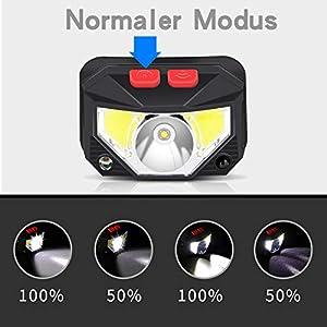 Linterna Frontal LED USB Recargable, ZOYJITU 2Pcs Linterna de cabeza led recargable, 8 Modos de uso (Luz Blanca/Luz Roja/Sensor). Linterna Frontal Led para Correr, Acampar, Pescar, Ciclismo