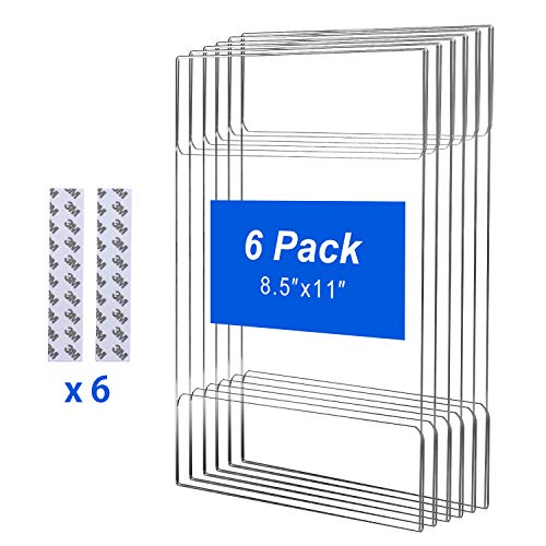 T-SIGN Acrylic Wall Sign Holder 8.5 x 11 Inches with 3M Tape Adhesive, Clear Paper Document Holder, Wall Mount Ad Frame, 6 Pack