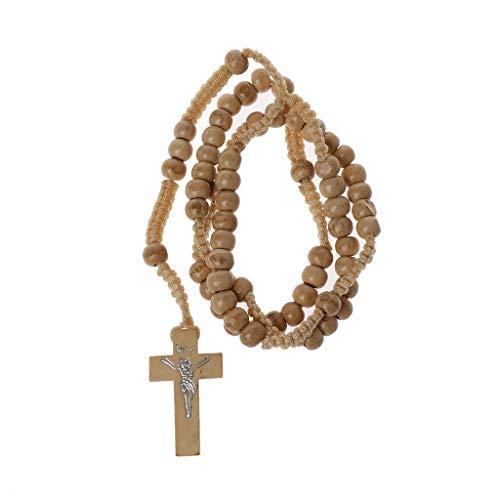 bfh Collares de Madera del Rosario de la Gota con Jesús, joyería Religiosa de Jesús de la Huella