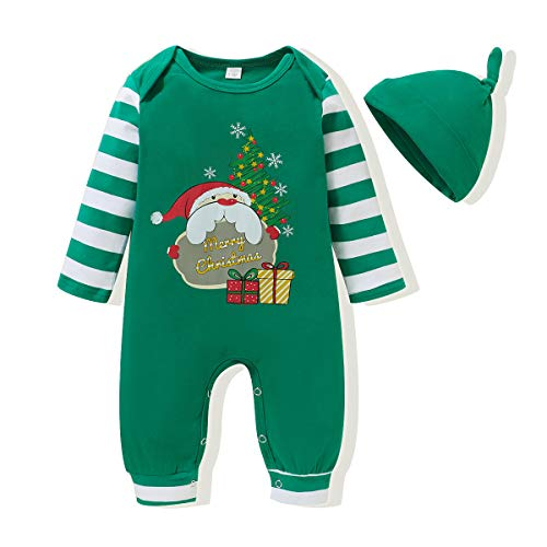 Baby Girl Christmas Outfit Newborn Boy Clothe Merry Onesie Clothes Set Horizontal Stripes Hat 0-3 Months Long Sleeve Fall Winter Bodysuit