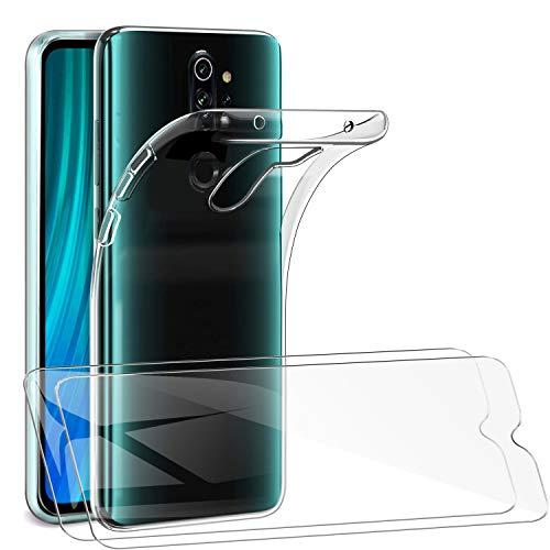 SMYTU Xiaomi Redmi Note 8 Pro Klar Hülle mit Panzerglas,[1 Hülle + 2 Panzerglas] Dünn Schutzhülle Slim Stoßfest Clear Durchsichtige Bumper Cover Handyhülle für Xiaomi Redmi Note 8 Pro - Transparent