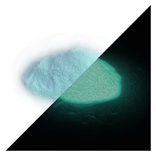 lumentics nagloeiende glitter blauw 50 g - in het donker oplichtende glitter om te knutselen voor verf, hars, lak, kunst, vingernagels. Glow in The Dark Flitter. Fluorescerend UV-knutselmateriaal.