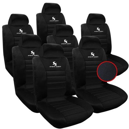 WOLTU AS7254-7 7er Sitzbezüge Auto Einzelsitzbezug universal Größe, Komplettset, schwarz