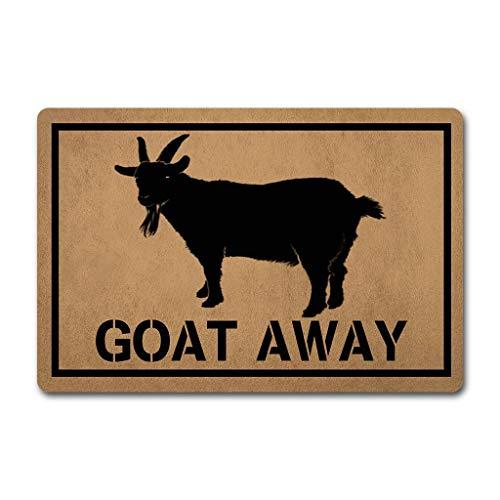 ZQH Outdoor Door Mats Goat Away Doormat Welcome Door Rugs (23.6 X 15.7 in) Non-Woven Fabric Top with a Anti-Slip Rubber Back. Door Rugs Best Doormat