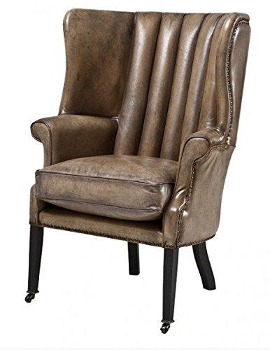 Casa Padrino Echtleder Ohrensessel Elegance Chesterfield Vintage Olive - Sessel mit echtem Leder