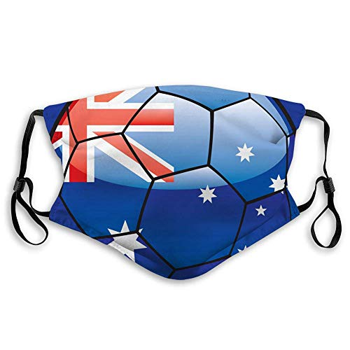 Australia Flag On Soccer Ball,Mouth Cover for Women,Face Mask Reusable Washable Cloth for Men