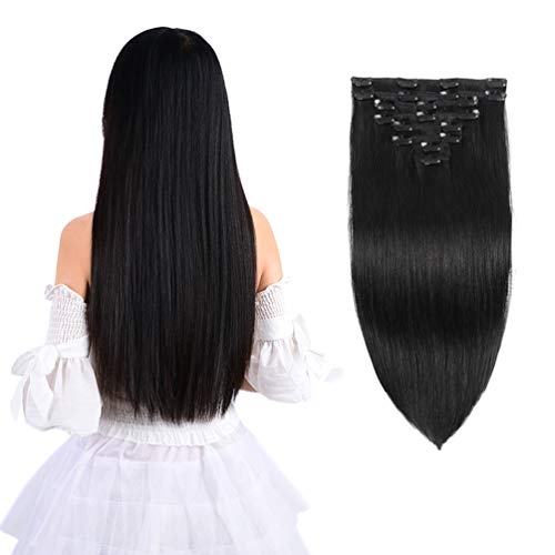 "14"" Remy Clip in Hair Extensions Human Hair Black for Women Beauty - Short Silky Straight 8pcs 20clips Real Human Hair Clip in Extensions (14 inch 100g #1B Natural Black)"