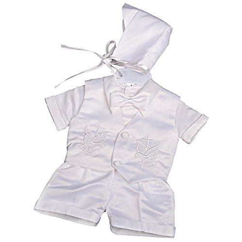 Dressy Daisy Baby Boys Baptism Christening Suit Outfit Bonnet Short Sleeves 4 Pcs Size 0-3 Months White