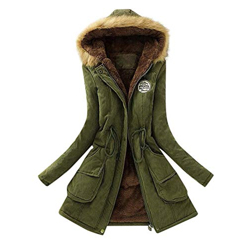 derenzide Women's Winter Warm Coat Hooded Thicken Fleece Lined Parkas Overcoat Outerwear Jacket with Pockets Drawstring Army Green