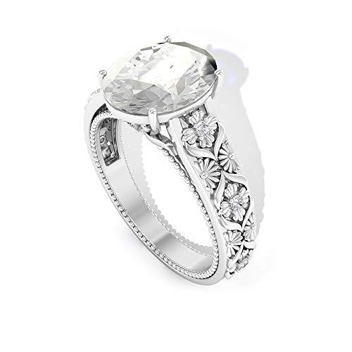 Anillo de topacio blanco con forma ovalada de 3,5 quilates, certificado SGL, anillo de boda con cuentas de diamante, claridad de color IJ-SI, 14K Oro blanco, Size:EU 70