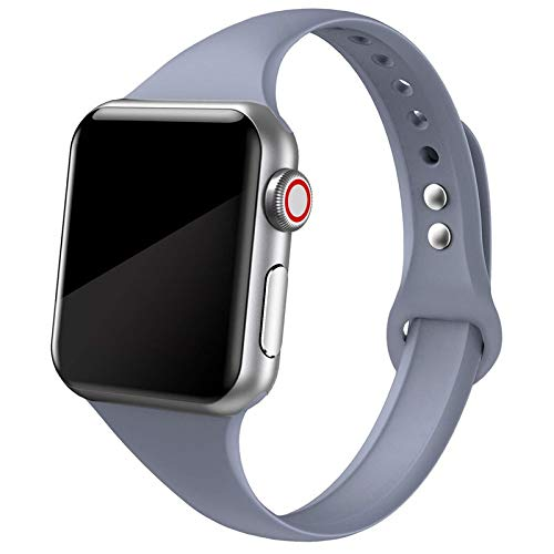 Bvcx Correa for Reloj de Apple Reloj Banda Manzana 5 4 3 2 Banda iWatch 42mm Correa 38 mm 44 mm 40 mm Silm Silicona pulseira Pulsera Correa de Reloj (Band Color : Lavender Grey 10)