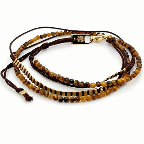 Armband Zag doré marron-goud bruin - oeil de tigre
