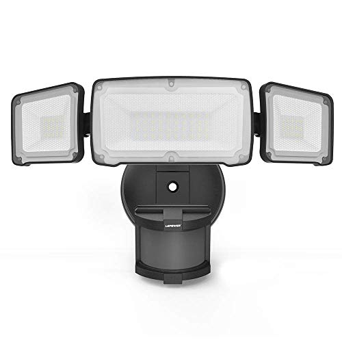 LEPOWER 35W LED Security Lights Motion Sensor Light Outdoor, 3500LM Motion Security Light, Waterproof IP65, 5500K, Full Metal, 3 Head Motion Detected for Garage,Porch,Yard - AC Powered