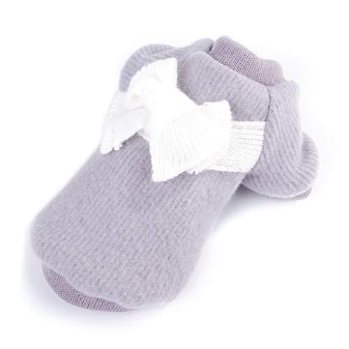 XYZMDJ Ropa Bonita para Perros Espesa, Ropa cálida para Perros, suéter con Lazo, algodón, Invierno, Suave para Perros pequeños y medianos (Color : Gray, Size : Small)