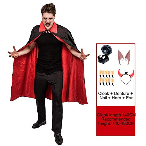 YYANG Cosplay Halloween Halloween Kinderkostüm Schwarzes Cape Erwachsener Vampir Umhang Zombie Junge Eltern-Kind-Kleidung,Man