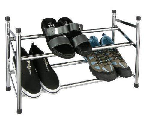 Spetebo Schuhregal verchromt - ausziehbar von 62-118 cm und stapelbar - Robustes und stapelbares Schuhregal