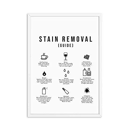 Guía de símbolos de lavandería Lavado Secadora Arte Pintura en Lienzo Impresiones y Carteles Sala de lavandería Cuadro de Pared Decoración 40x50 cm C-331