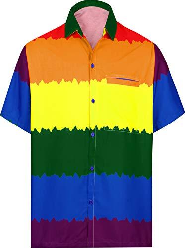 LA LEELA único día Camisa de la Playa Hawaiano Aloha Orgullo del Arco Iris de los Hombres Multi_AA304 XXL