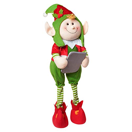 ALLYORS Christmas Poseable Plush Elves Doll for Xmas Home Decoration, 27'' Boy Girl Elves Characters, with Adjustable Legs for Sitting Standing Laying, Santa Helper on Shelf (Thinkers)
