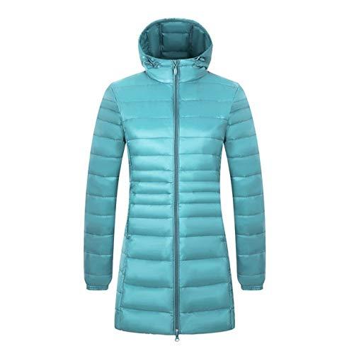 Frauen-Lange Winter Daunenjacke, Warme Kapuzenjacke, Super Light, 6XL, 7XL Und 8XL,Blue,8XL