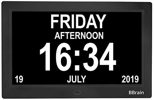 BBrain Basic Seniorenuhr Digitale Uhr - Demenz Alzheimer Senioren - in Schwarz - mit Erinnerungsfunktion für Medikamente und Beleuchtung