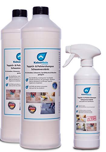KaiserRein Teppichreiniger flüssig/Polstershampoo Konzentrat 2 x 1L Schaum für die Teppich- & Polsterreinigung manuell & maschinell Waschsauger