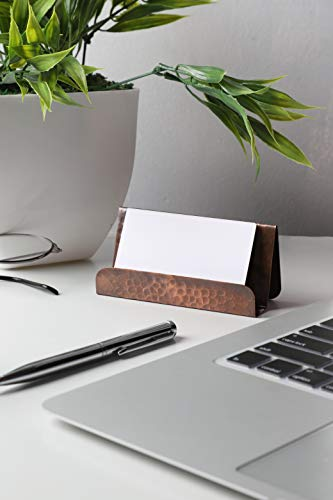 GoCraft Pure Copper Business Card Holder Stand   Fits 20-30 Business Cards   Antique Finish Copper Stand