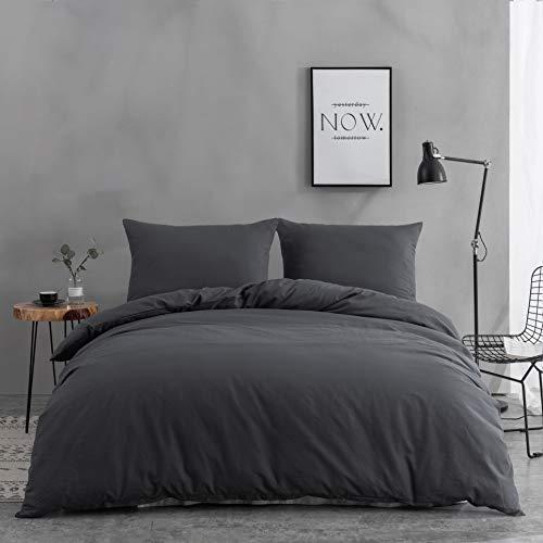 AYSW Baumwolle Bettwäsche 200x200 cm Grau 3er Set 1 Bettbezug mit 2 Kopfkissenbezug 80x80 cm