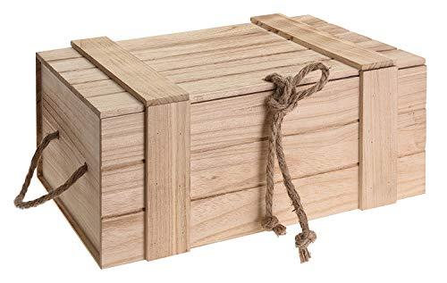 Holzkiste mit Deckel geflammt vintage alt Truhe Natur Kiste Weinkiste B-WARE (Mittel: H 15 x B 36 x T 26 cm)
