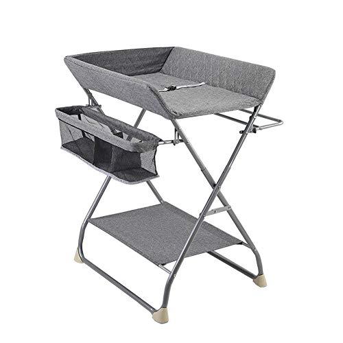 Tables à langer Bébé, Station De Couche-Culotte Pliant Nursery Portable Organisateur avec Rangement Et Panier Sangle De Sécurité (Color : Linen Gray)
